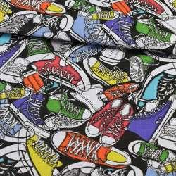 Деко-коттон разноцветные кеды на черном фоне, ш.150
