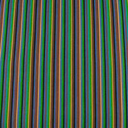 Деко-котон коричнево-сині, чорно-персикові вузькі смужки ш.150