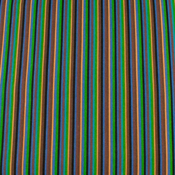 Деко-коттон коричнево-синие, черно-персиковые узкие полоски ш.150