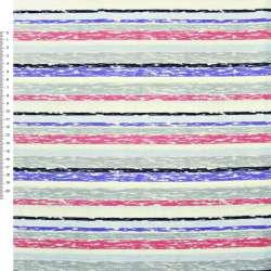 Деко-коттон серо-голубые, малиново-кремовые полоски ш.150