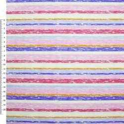 Деко-котон рожево-червоні + молочно-блакитні смужки ш.150