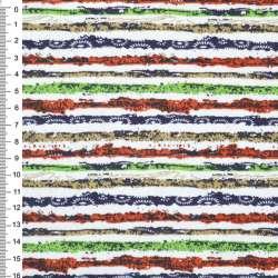 Деко-котон оранж-білі + зелено-сині смужки з точками ш.150