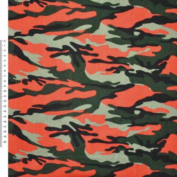 """Деко-коттон оливковый зелено-оранжевый """"камуфляж"""" ш.150"""