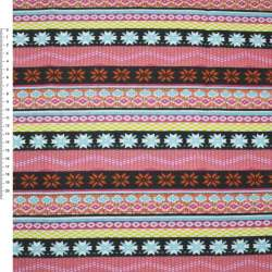 Деко-котон корич-оранж + рожево-чорні смужки з орнамент.ш.150