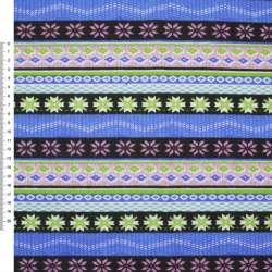 Деко-коттон черно-голубые, розовые полоски с орнаментом ш.150