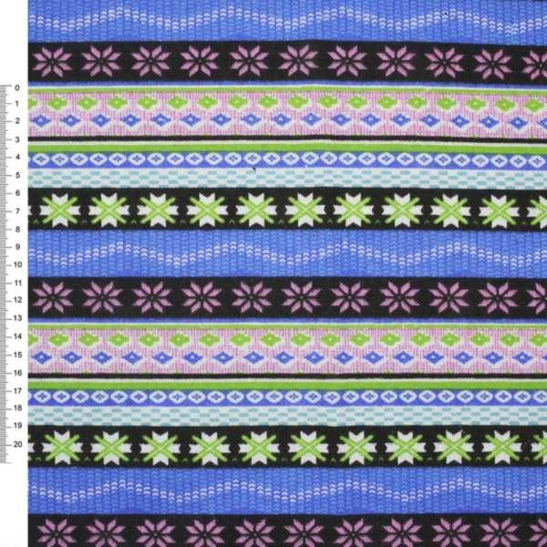 Деко-коттон черно-голубые+розовые полоски с орнамент.ш.150
