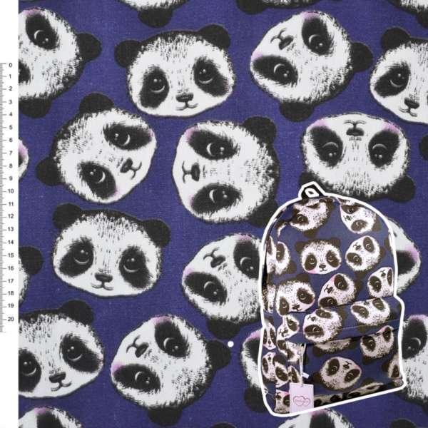 """Деко-коттон синий """"Панда"""" ш.150"""
