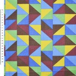 Деко-коттон желто-голубые, коричнево-зеленые треугольники ш.150