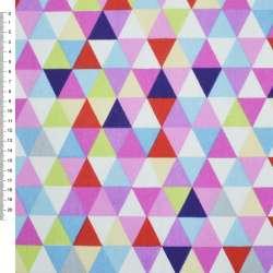 Деко-коттон красно-белые, розово-голубые треугольники ш.150