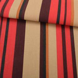 Деко-котон коричнево-червоні, гірчичні смужки ш.150