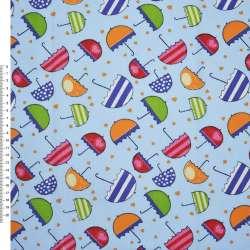 Деко-коттон голубой с разноцветными зонтиками ш.150