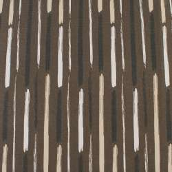 Деко-котон коричневий в білі, бежеві, чорні широкі штрихи, ш.150