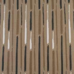 Деко-котон бежевий в білі, коричневі сірі широкі штрихи, ш.150