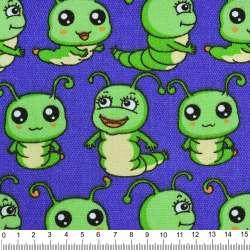 Деко-коттон св/синий с зелеными гусеницами ш.150