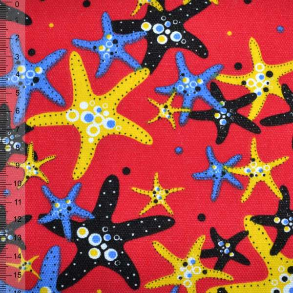 Деко-коттон красный с морскими звездами ш.150