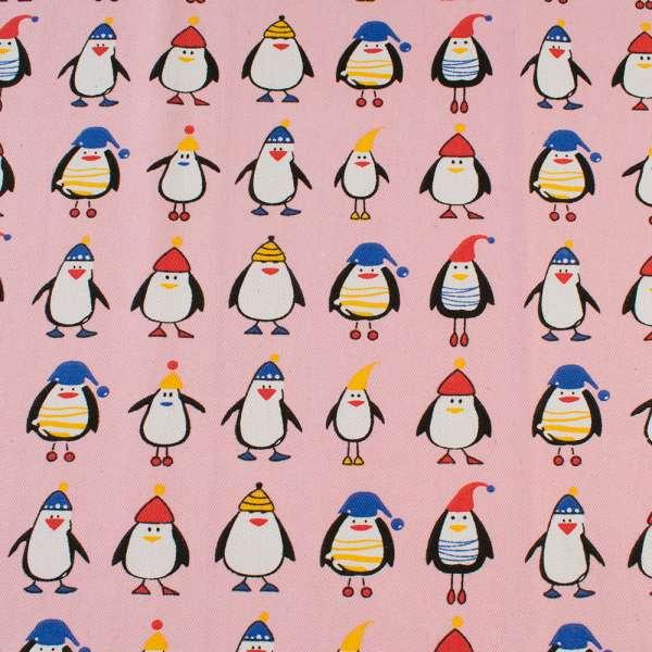 Деко-коттон розовый, пингвины в шапочках, ш.150