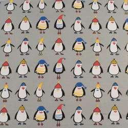 Деко-коттон серый, пингвины в шапочках, ш.150
