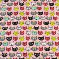 Деко-коттон розовый, разноцветные кошки, ш.150