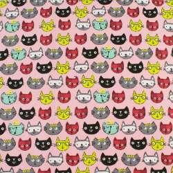 Деко-котон рожевий, різнокольорові кішки, ш.150
