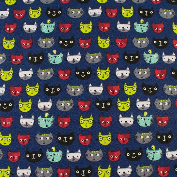Деко-коттон синий, разноцветные кошки, ш.150