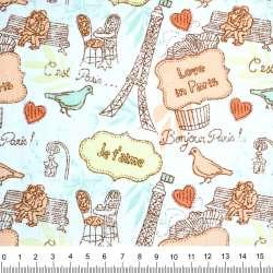 """Деко-котон білий з коричнево-персиковим малюнком """"Love in Paris"""" ш.150"""