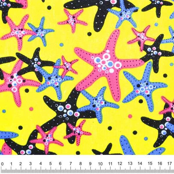 """Деко-коттон  желтый """"морские звезды"""" ш.150"""