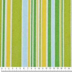 Деко-котон салатово-жовті, зелено-блакитні смужки ш.150
