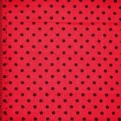 Деко-коттон красный в черный горох ш.150