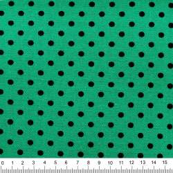 Деко-котон бирюзово-зелений в чорний горох ш.150