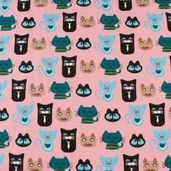 Деко-коттон розовый, черные, бирюзовые, голубые кошки, ш.150