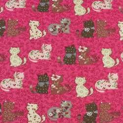 Деко-котон малиновий в кішки печворк, ш.150