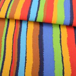 Деко-котон жовто-салатові, червоно-сині рвані смужки ш.150