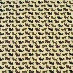 Деко-коттон молочный в черные, серые, коричневые кошки, ш.150