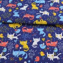 Деко-коттон синий, разноцветные кошки, птички, ш.150