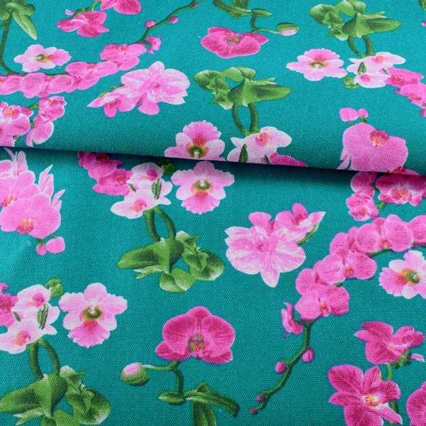 Деко-котон бірюзовий, рожеві орхідеї, ш.150
