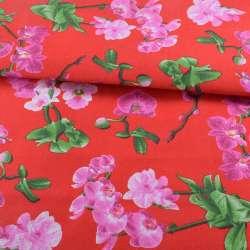 Деко-котон червоний, рожеві орхідеї, ш.150
