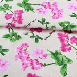Деко-котон молочний, рожеві орхідеї, ш.150