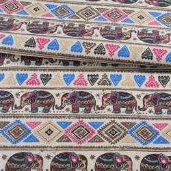 Деко-коттон молочный, орнамент со слонами, ш.150