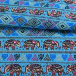 Деко-котон блакитний, орнамент зі слонами, ш.150