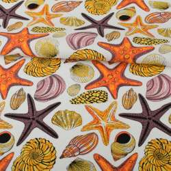 Деко-котон білий, різнокольорові раковини, морські зірки, ш.150