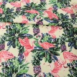 Деко-коттон кремовый, зеленые листья, розовые фламинго, ш.150