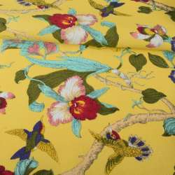 Деко-котон жовтий, орхідеї, пташки, ш.150