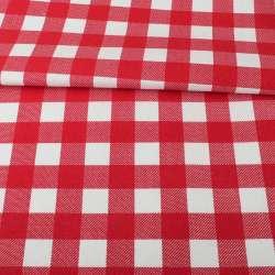 Деко-коттон белый в красную клетку, ш.150