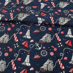 Деко-коттон синий темный, красно-белые маяки, кораблики, ш.150