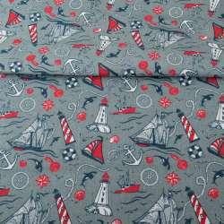 Деко-котон сірий, червоно-білі маяки, кораблики, ш.150