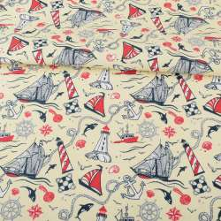 Деко-котон молочний, червоно-білі маяки, кораблики, ш.150