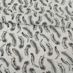 Деко-коттон белый, серые перья, ш.150