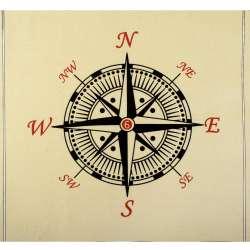 Деко-коттон кремовый, черный компас, раппорт 92см (наволочка 46х46см),ш.150