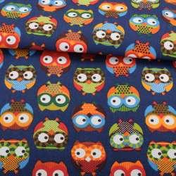 Деко-коттон синий, разноцветные совы, ш.150
