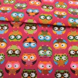 Деко-коттон малиновый, разноцветные совы, ш.150